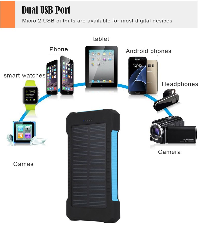 Waterproof Solar 30000mAh Solar Power Bank Charger 2 USB Ports External Charger Powerbank for Xiaomi with LED Light 8