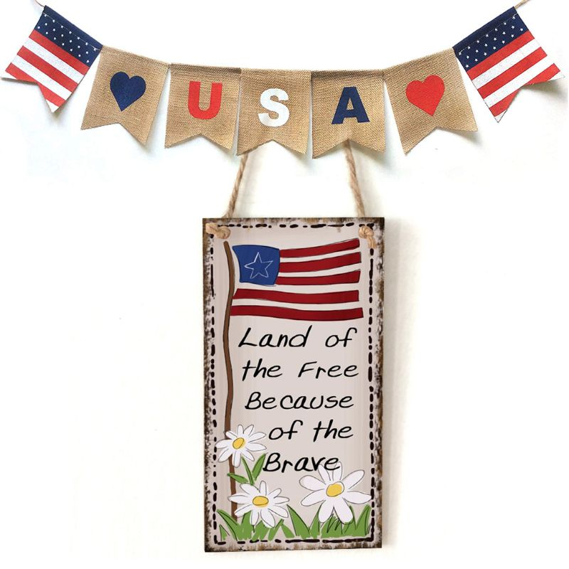 Vintage Wooden Hanging Plaque Land Of The Free Because Of The Brave Sign Board Wall Door Home Decoration Independence Day Party-in Plaques & Signs from Home & Garden