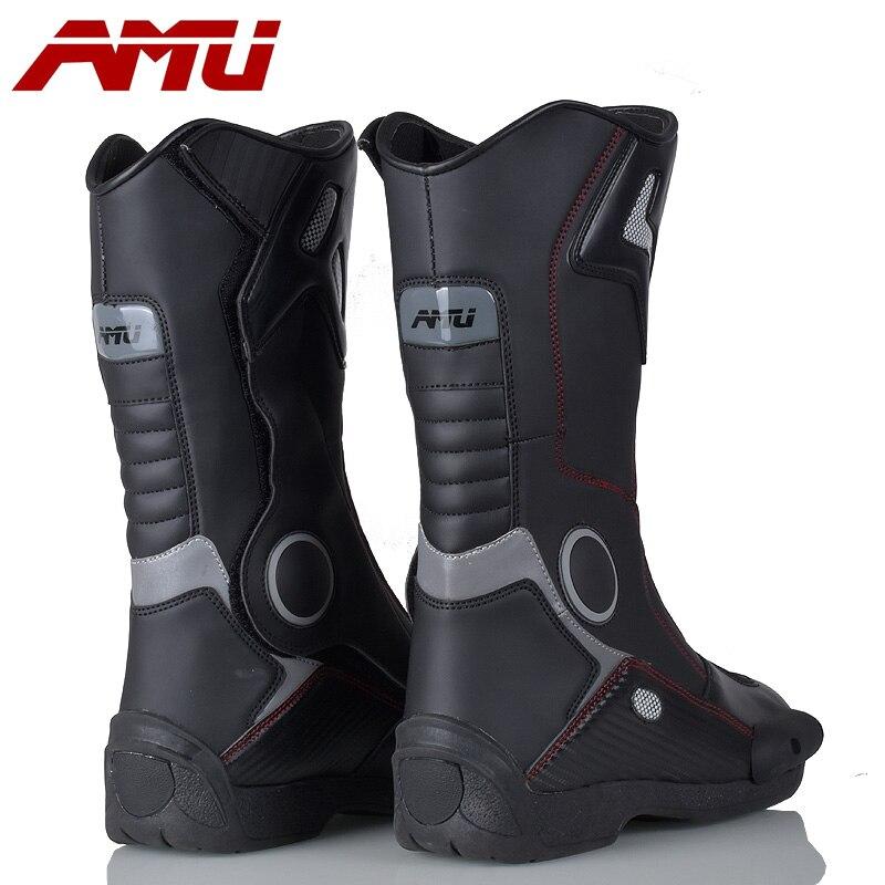 AMU Moto bottes cuir imperméable Botte Moto Moto Botte motard protecteur chaussures moteur Motocross bottes - 2