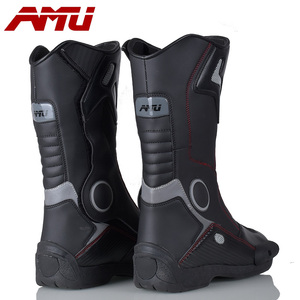 Image 2 - Botas de couro para motociclista, botas de couro à prova d água para moto, motociclista, botas de motocross