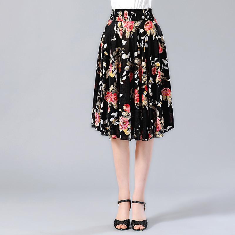 328ba8c1d3a3e 2019 Summer Pleated skirt wear Knee-Length floral print skirt Elastic Waist  skirts womens Streetwear Girl Lady Faldas Skirt