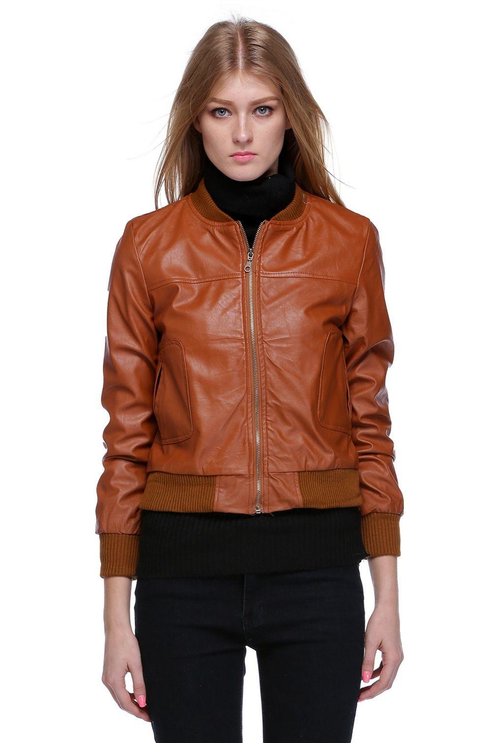 Girls Brown Leather Jacket   Fit Jacket
