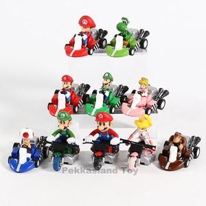 Image 3 - 10 stks/set Anime Figura Super Mario Bros Kart Pull Back Auto Leuke PVC Action Figure Pop Collectible Model Baby Speelgoed voor Kids