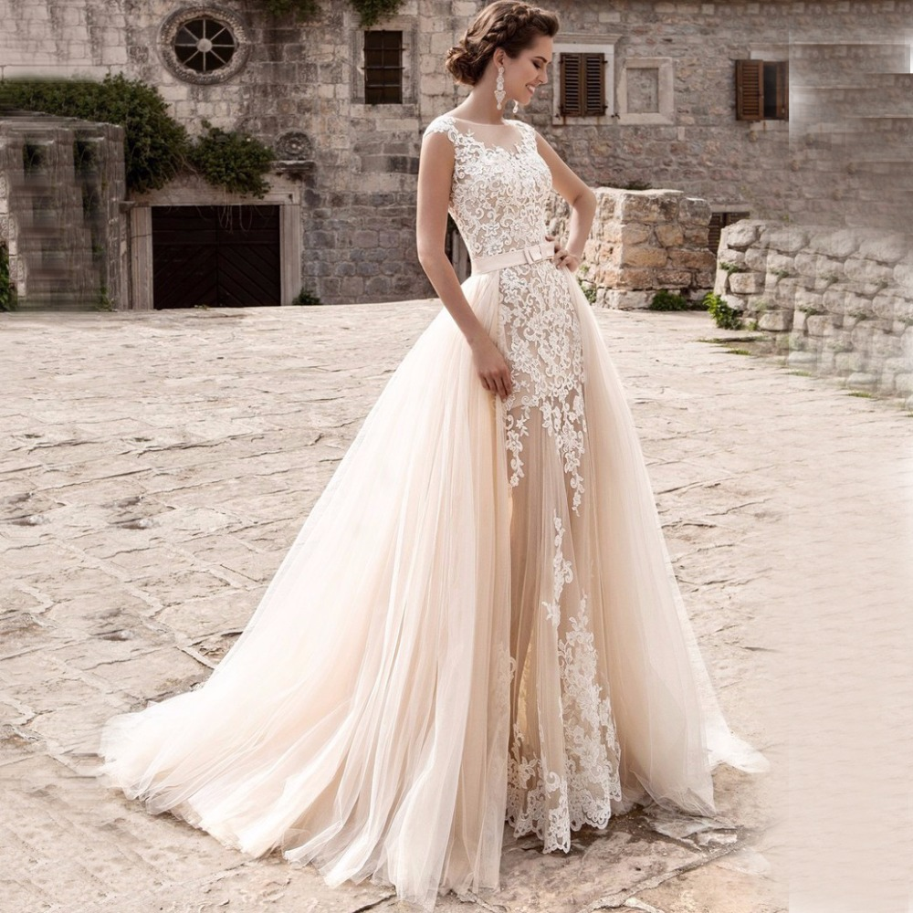 Charming Mermaid Wedding Dresses Detachable Train Bridal Gown Scoop Cap Sleeves Lace Vestidos de Novia Robe de Mariee