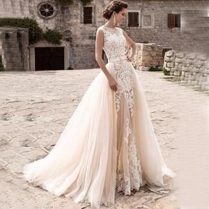Image 1 - Charming Mermaid Wedding Dresses Detachable Train Bridal Gown Scoop Cap Sleeves Lace Vestidos de Novia Robe de Mariee