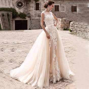 Charming Mermaid Wedding Dresses Detachable Train Bridal Gown Scoop Cap Sleeves Lace Vestidos de Novia Robe de Mariee - DISCOUNT ITEM  30% OFF All Category