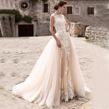 7ec3bb3dd Encantador sirena Vestidos de boda pura falda desmontable vestido de Novia  de encaje vestido de Novia Vestidos de Novia 2019 traje de Mariee. US   129.29