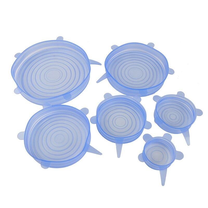 6pcs / set Stretchable Lids Cover Plastové potraviny Silikonové kuchyně Piknik Venkovní Snadné použití Opakovaně použitelný víceúčelový Pohodlný