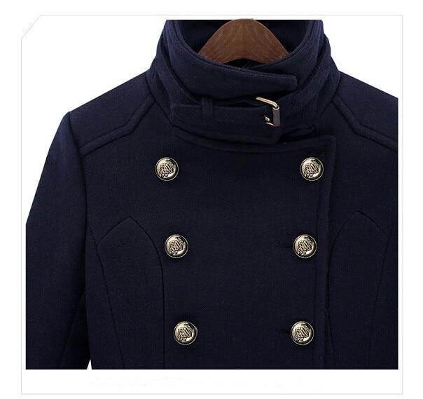 Cappotto Lana Moda Petto Nuove Blue Donne Femminile Mujer Autunno Colletto Doppio Di Alla Inverno Navy Abrigos dvzpzxnY