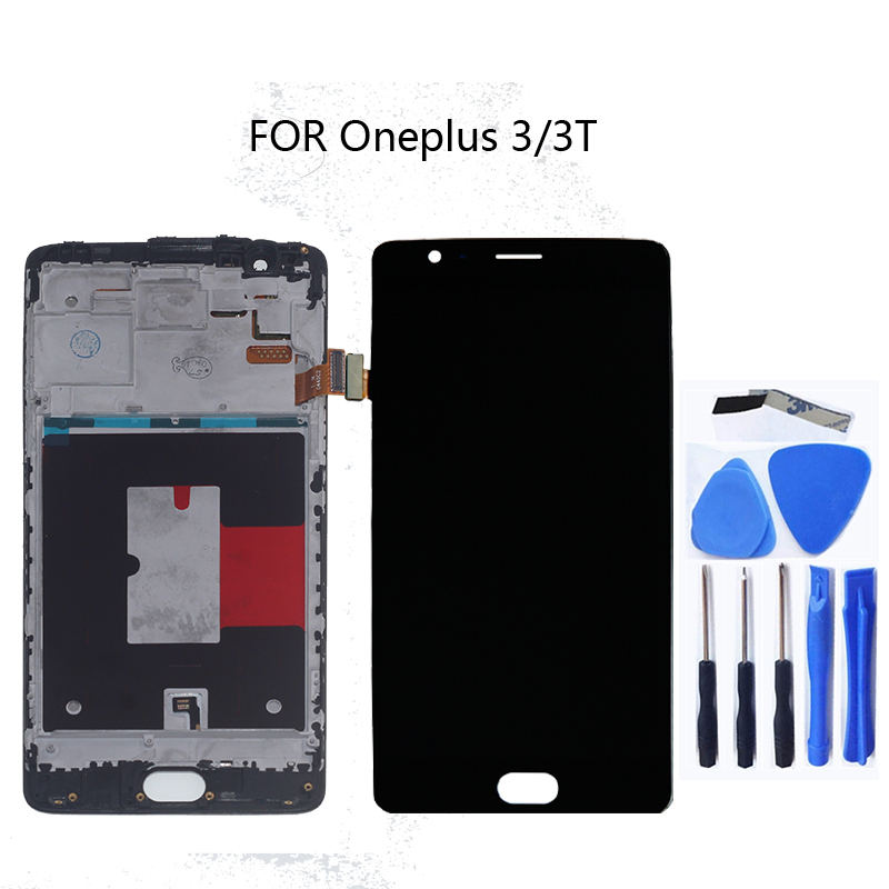 For Oneplus 3 3T New AMOLED LCD Display + Touch Screen Sensor Assembly Replacement A3010 A3000 A3003 Mobile Phone Repair Parts(China)