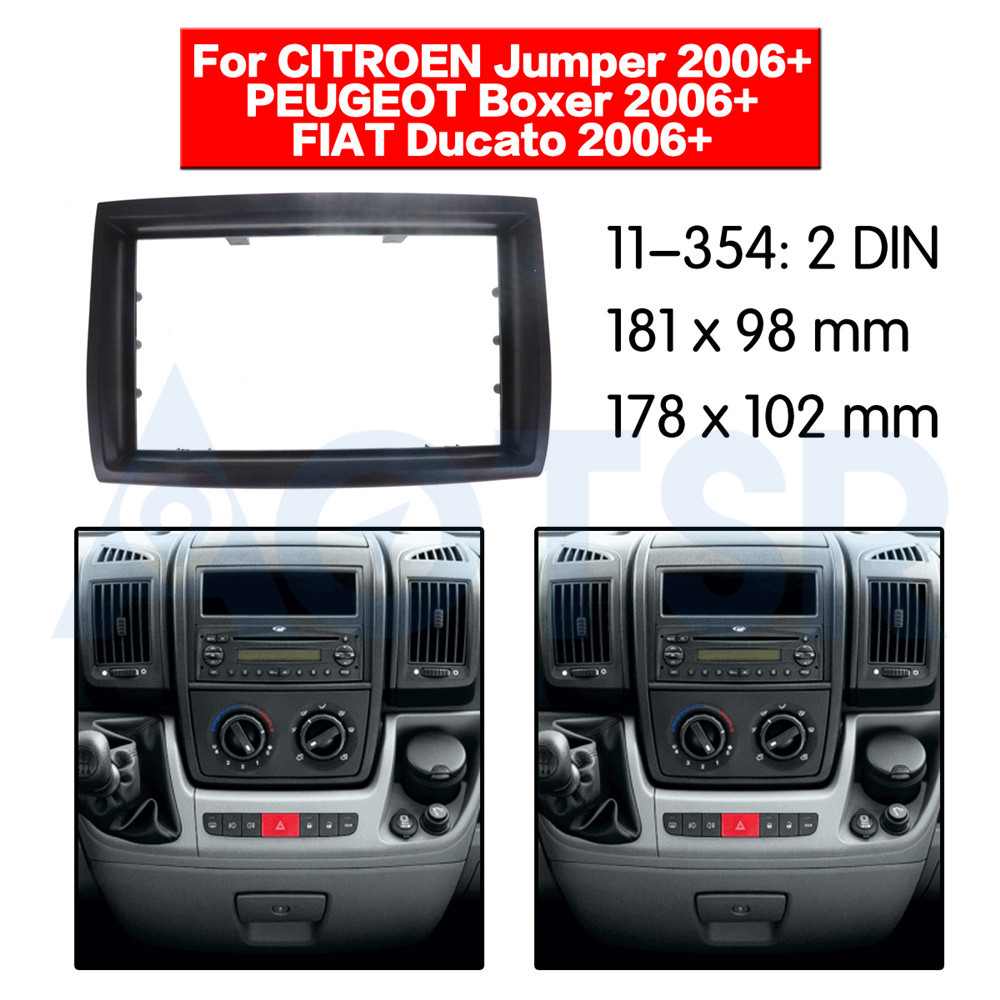 2 din Radio Fascia for CITROEN Jumper 2006+ for PEUGEOT Boxer 2006+ Stereo Audio Panel Mount Installation Dash Kit Frame Adapter