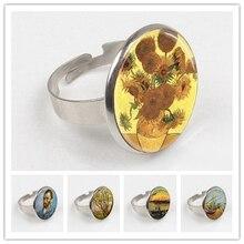 лучшая цена 2019 Wholesale Van Glass Dome ring Van Gogh ring Van Gogh jewelry round glass ring glass photo
