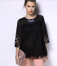 Spring summer new fat mm large size women chiffon shirt loose sister add fertilizer increased 880A 40