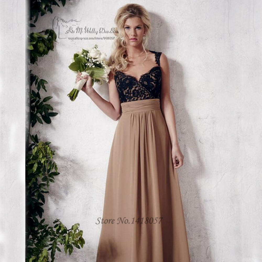 Black Lace Brown Bridesmaid Dresses Long Party Dress Backless ...