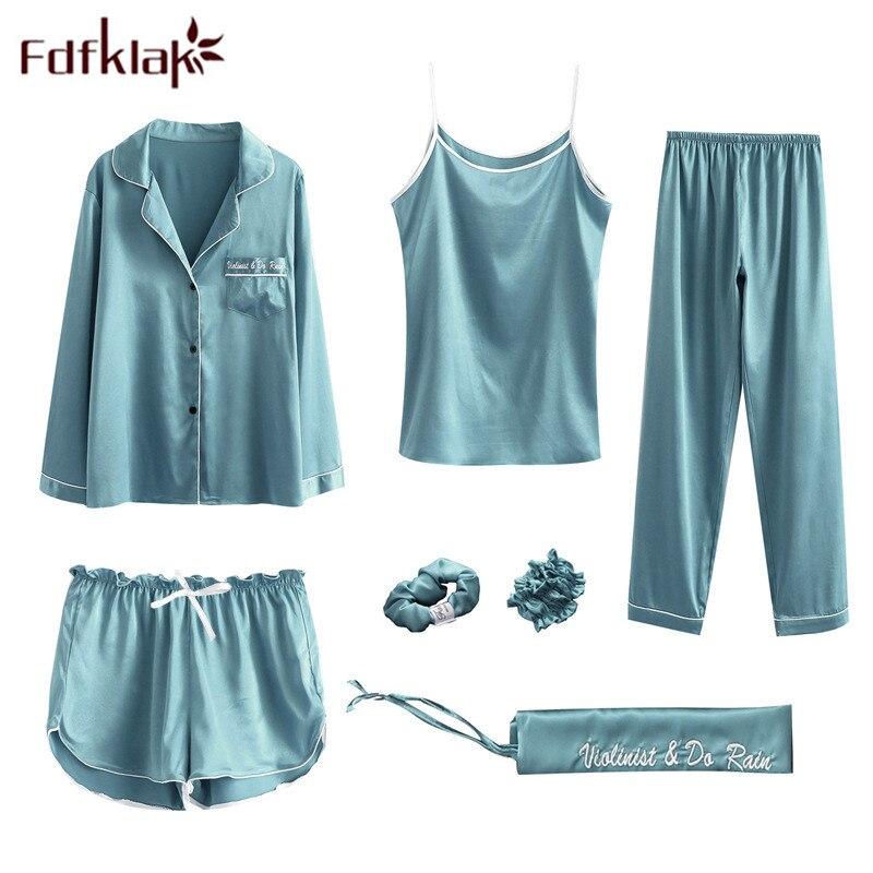 Fdfklak Spring Summer 7 Pieces Sleeping Clothes Sexy Pajamas Pyjamas Women Pijama Night Suit Sleepwear Set Pajamas NightwearQ945