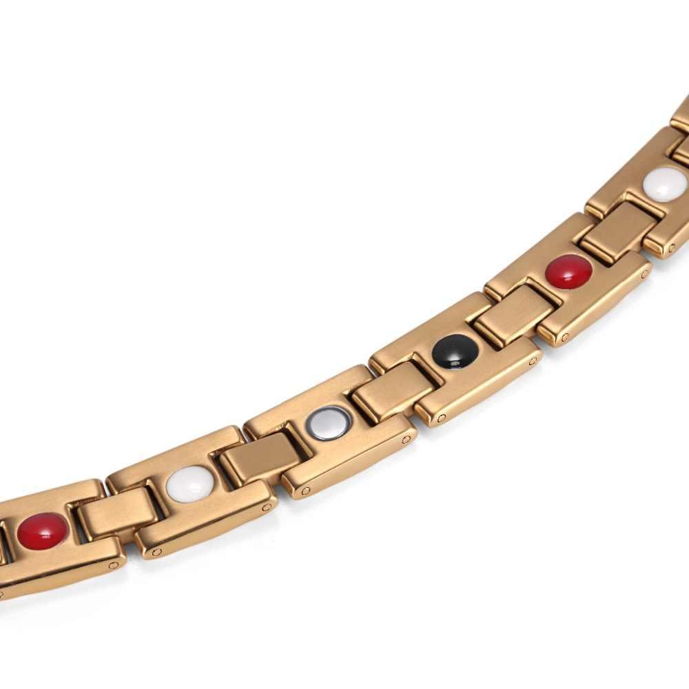 מכירה לוהטת Mens תכשיטי 4 בריאות אלמנטים נירוסטה אופנה כסף/זהב/שחור מגנטי צמיד צמיד OSB-1552G