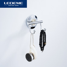 LEDEME Chrome Robe Hook Wall Mounted Bathroom Clothes Hook Hats Hangers Door Clothes Coat Hat Hanger Modern Robe Hooks L204-2(China)