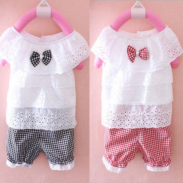 2016 verano niñas ropa de Bebé precioso shirt + shorts traje 2 piezas conjuntos trajes juegos de los deportes para las niñas ropa de bebé de algodón establece