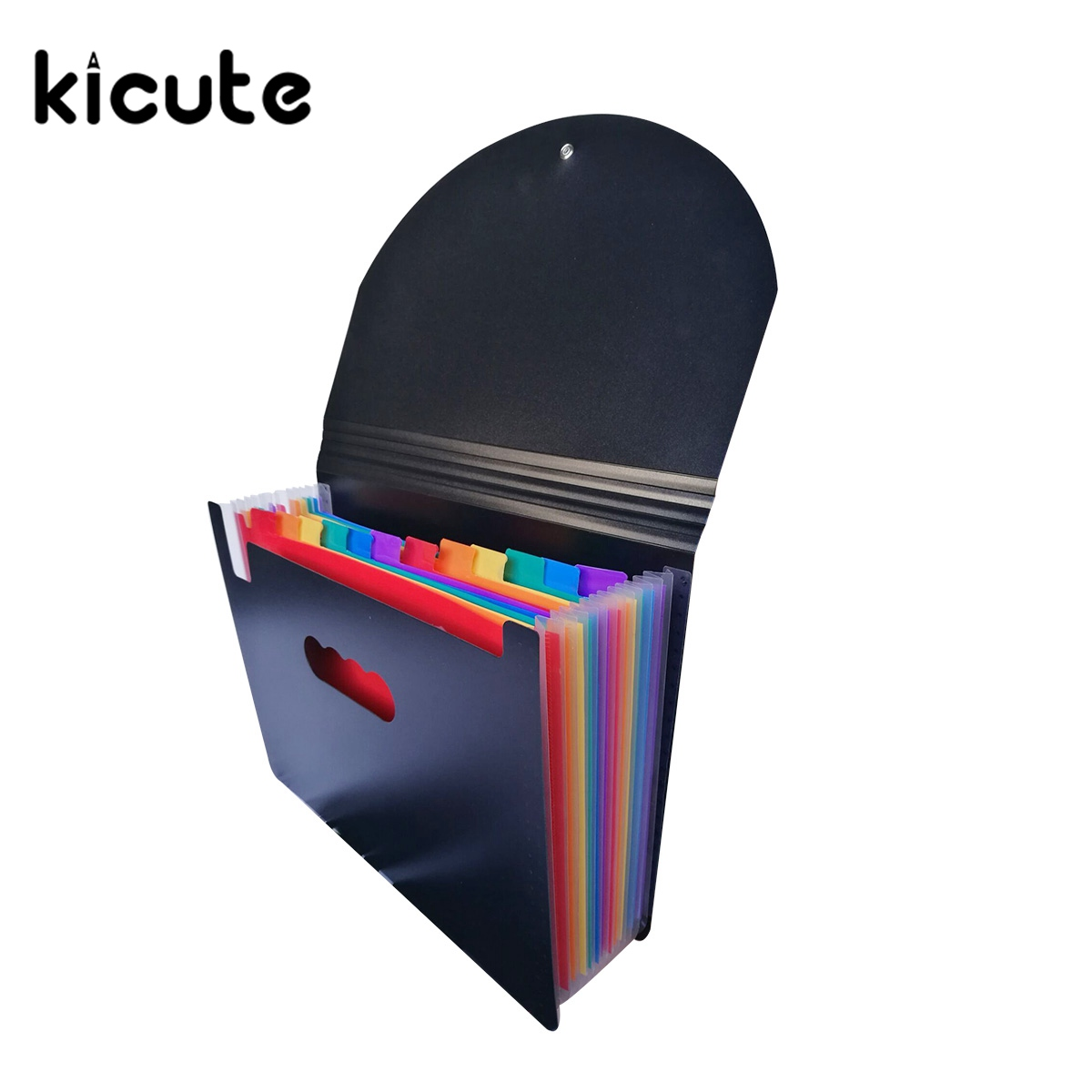 Kicute 1pcs High Quality Waterproof Rainbow Color 12 Layers File Folders Rainbow Document Bag Office Stationery Supplies Gifts a4 leather discolor manager file folder restaurant menu cover custom portfolio folders office portable pu document report cover