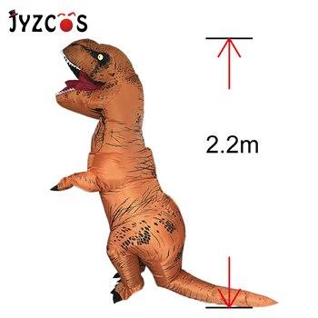 JYZCOS الكبار طفل ديناصور نفخ زي t-ريكس زي هالوين ملابس تنكرية للحفلات للنساء الرجال الجوراسي العالم تأثيري زي