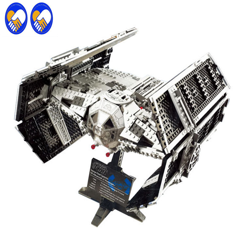 A Toy A Dream 05055 Star War Series The Rogue One USC Vader TIE Advanced Fighter 10175 Building Blocks Bricks Educational Toys 2017 new 1242pcs 05055 lepin star wars vader s tie advanced fighter model building kit figures blocks brick toy compatible 10175