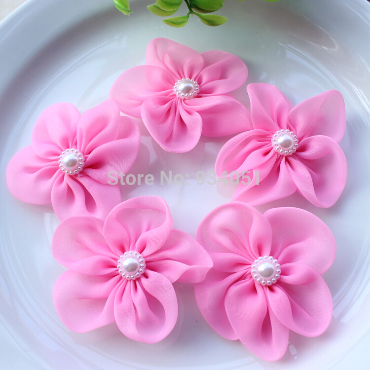 Set of 50pcs pink bridal silk flowers with pearl flower center silk set of 50pcs pink bridal silk flowers with pearl flower center silk hair flowers silk organza flowers wholesale free shipping in artificial dried mightylinksfo