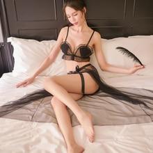 цена на Sexy Underwear Women Set Lingerie Set Black & White & Pink Ruffles Trim Cute Exotic Sets AD0471