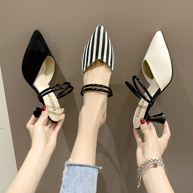 2019 summer new sexy outer wear shoes fashion slippers pointed high heels temperament sandals stiletto women's shoes tide