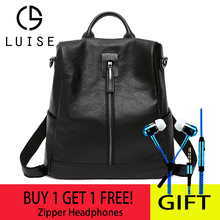 Купить с кэшбэком LUISE Backpack Female Bag Genuine Cow Leather Mochila School Student Backpack For Girls Fashion School bag Lady Travel Bags 1570