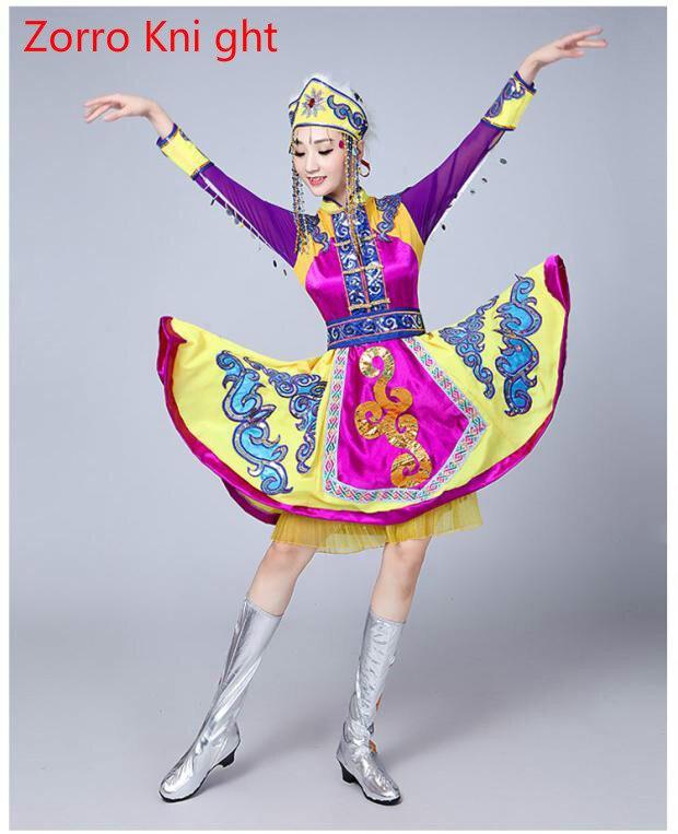 [Zorro Kni ght] femme Tradition Tatar russe ouzbek Buick chanteur danse folklorique performance vêtements scène danse vêtements