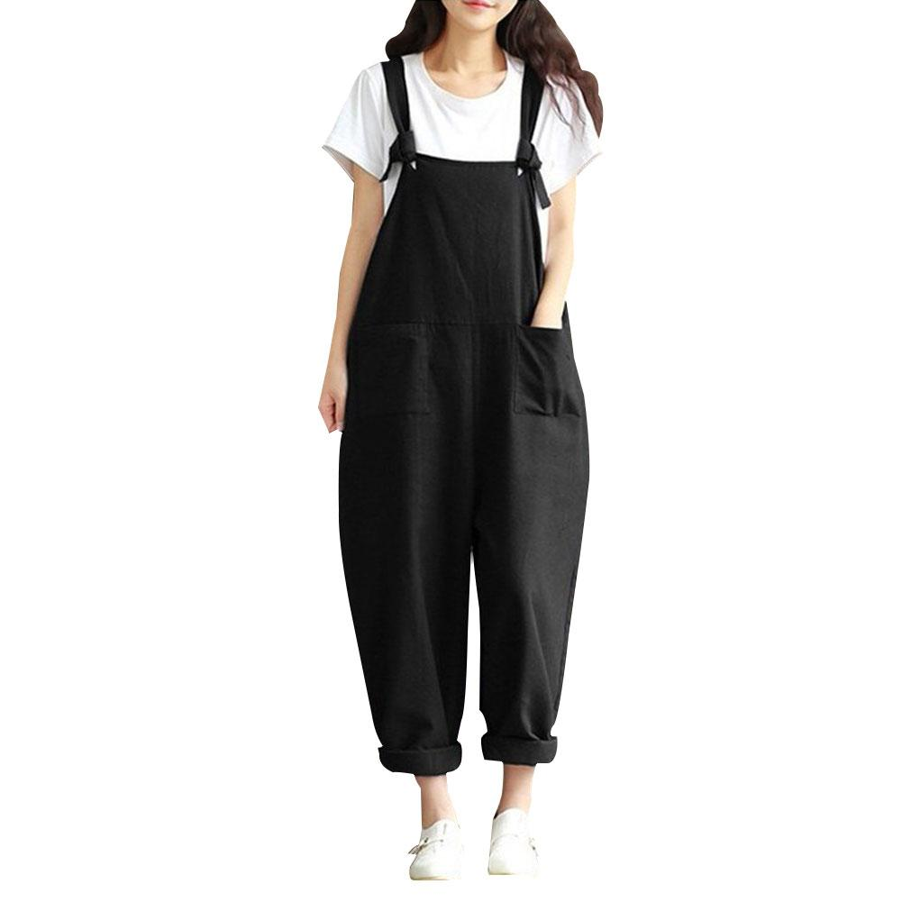 Women Sleeveless Pockets Dungaree Baggy   Jumpsuits   Overalls Fashion Strappy Loose Long Harem Pants Bib Trousers Plus Size 5XL