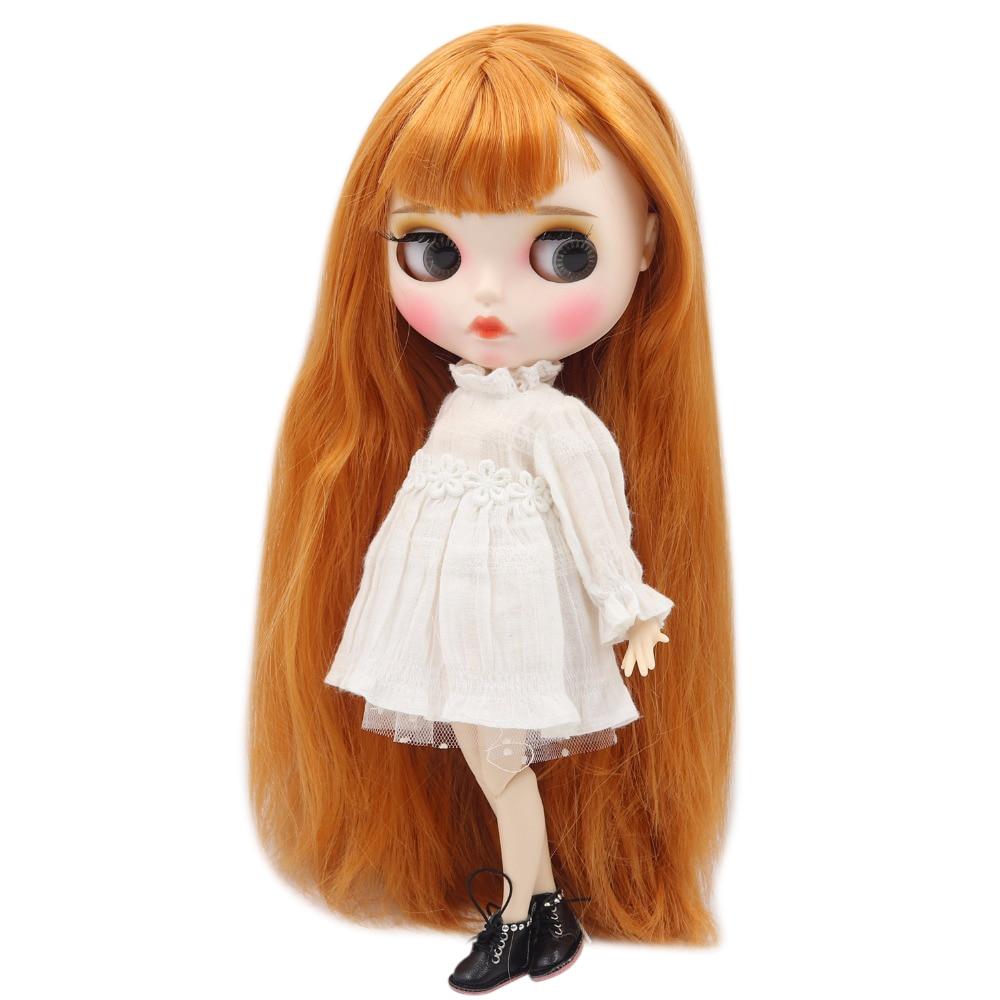 factory blyth doll 1 6 bjd white skin joint body orange hair new matte face Carved