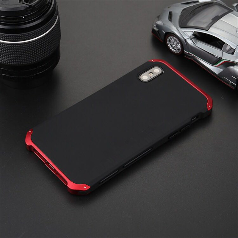 R-JUST de luxe armure métal aluminium + PC robuste téléphone protéger Funda Coque couverture pour iPhone X XS MAX 8 6 6 S 7 Plus 5 S SE XR étui