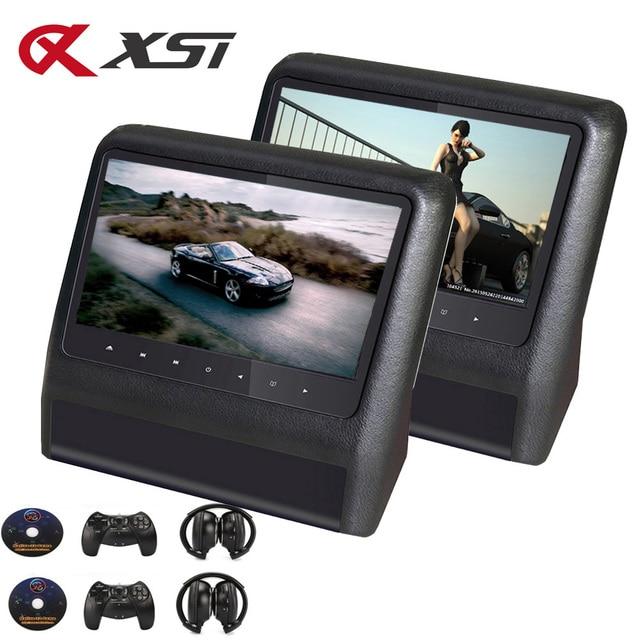 XST 2 9 Inch Gối Tựa Đầu Xe Hơi Màn Hình MP5 ĐẦU DVD có USB/SD/Màn Hình LCD Ghế Sau Displayer IR/Bộ Phát FM Điều Khiển từ xa