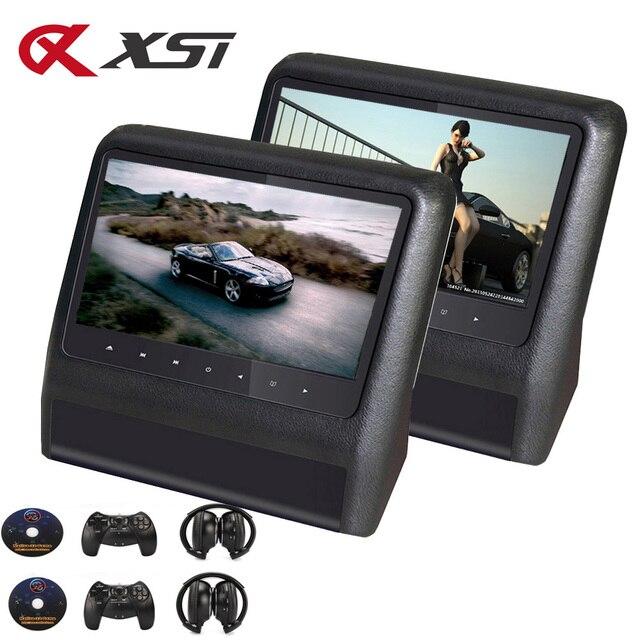 XST 2PCS 9 นิ้ว Car Headrest Monitor MP5 เครื่องเล่น DVD USB/SD/หน้าจอ LCD ด้านหลังเครื่องส่งสัญญาณ IR/FM รีโมทคอนโทรล