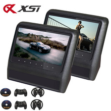 XST 2PCS 9 Inch Car Headrest Monitor MP5 DVD Player with USB/SD/LCD Screen Backseat Displayer IR/FM Transmitter Remote Control