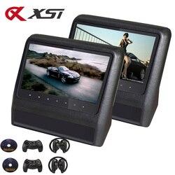 XST 2 шт. 9-дюймовый автомобильный монитор на подголовник MP5 DVD-плеер с USB/SD/ЖК-экраном, монитор заднего сиденья, ИК/FM-передатчик, пульт дистанцио...