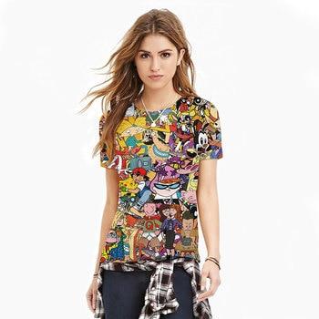 2016 New Fashion Women/Men Cartoon Totally 90s Print 3d T Shirt Pokemon Cartoon Sporting T Shirts Girls Top Tee Plus Size S-XXL 1