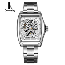 IK colouring Gold Skeleton Lxuury Watch Men Silver Steel Band Automatic Mechanical Watches Fashion Casual Business Dress relogio