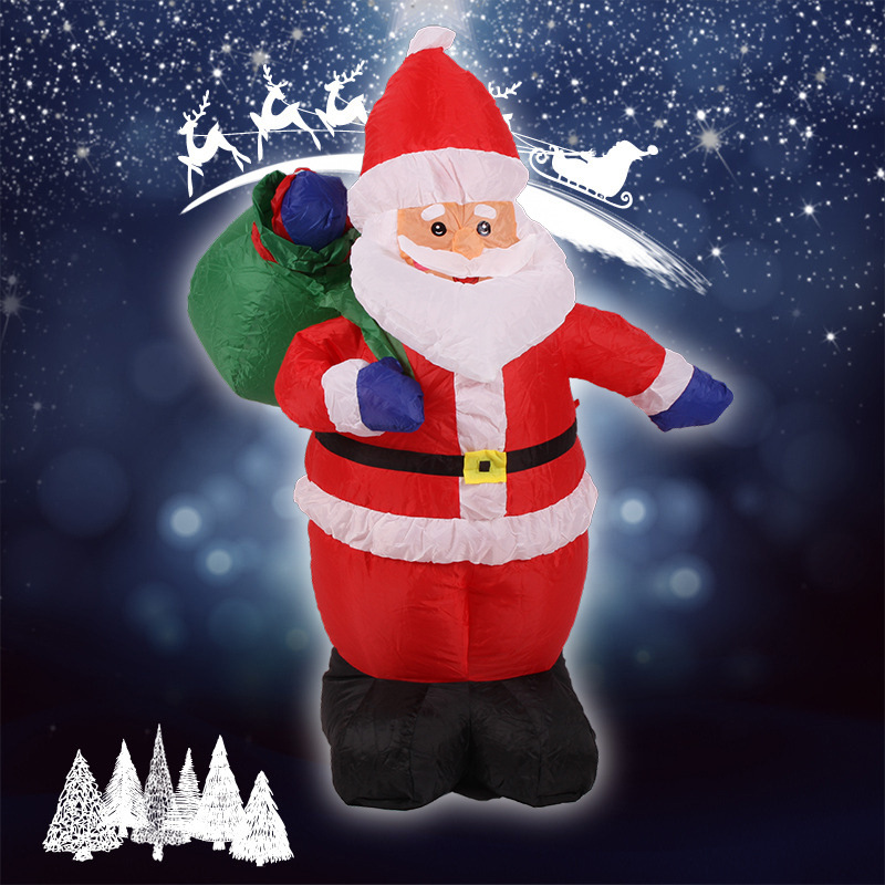 Christmas inflatable santa claus with gift bag yard garden for 4 ft santa claus decoration