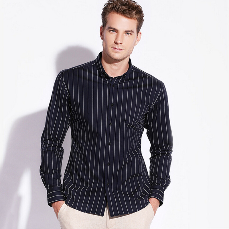 Men Shirt 100%Cotton Long-Sleeve Business Smart Casual Striped Classic  Shirts High Quality  2 Color S-4XL