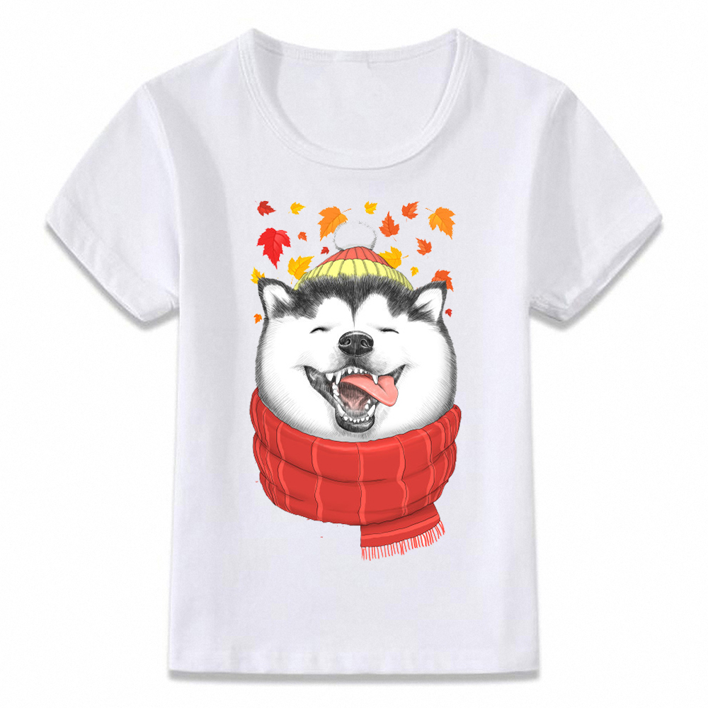 Kids T Shirt Happy Autumn Husky Cat Raccoon Cute Animal Children T-shirt Boys And Girls Toddler Tee Oal102