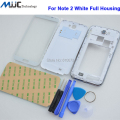 For Samsung Galaxy Note 2 White Full Housing Case Middle Frame GT-N7100 Battery Cover N7100 Front Screen Glass Lens+Toos