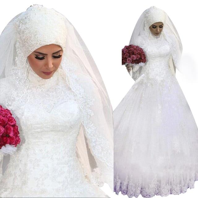 Hochwertige individuelle ssyfashion muslim langarm hochzeit kleid ...