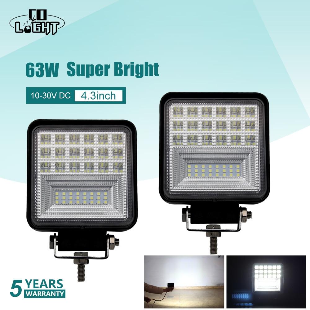 CO LIGHT 4.3 Inch 63W LED Work Light 4x4 Offroad Led Light Bar Driving Lamp For Jeep Trucks Trailer Boat 12V 24V 4WD Fog Light