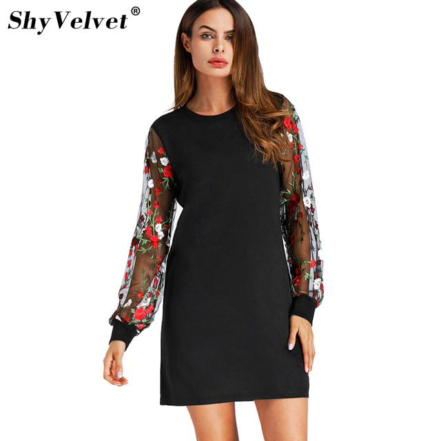 db1d122d185 New Arrival Embroidered Floral Mesh Sleeve Women Dress British Style Mini  Dress Vintage Female Plus Size Summer Dress