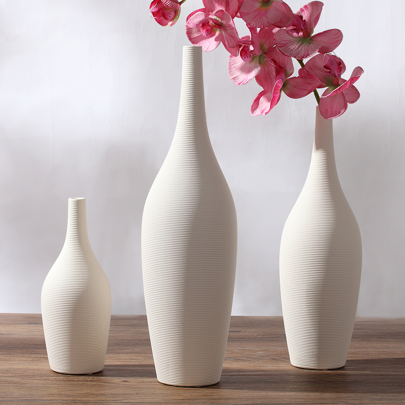 Design White Small Mouth Ceramic Creative Contracted Flower Vase