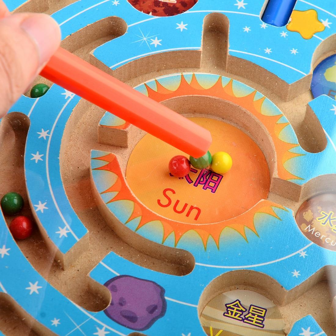 UTOYSLAND magneter pussel labyrint barn träleksaker nio planeter - Spel och pussel - Foto 6