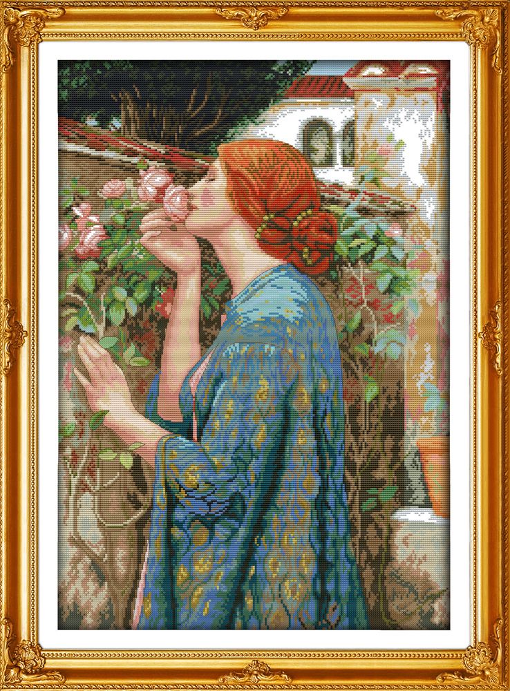 Woman and flowers Printed Canvas DMC Counted Chinese Cross Stitch Kits printed Cross-stitch set Embroidery Needlework