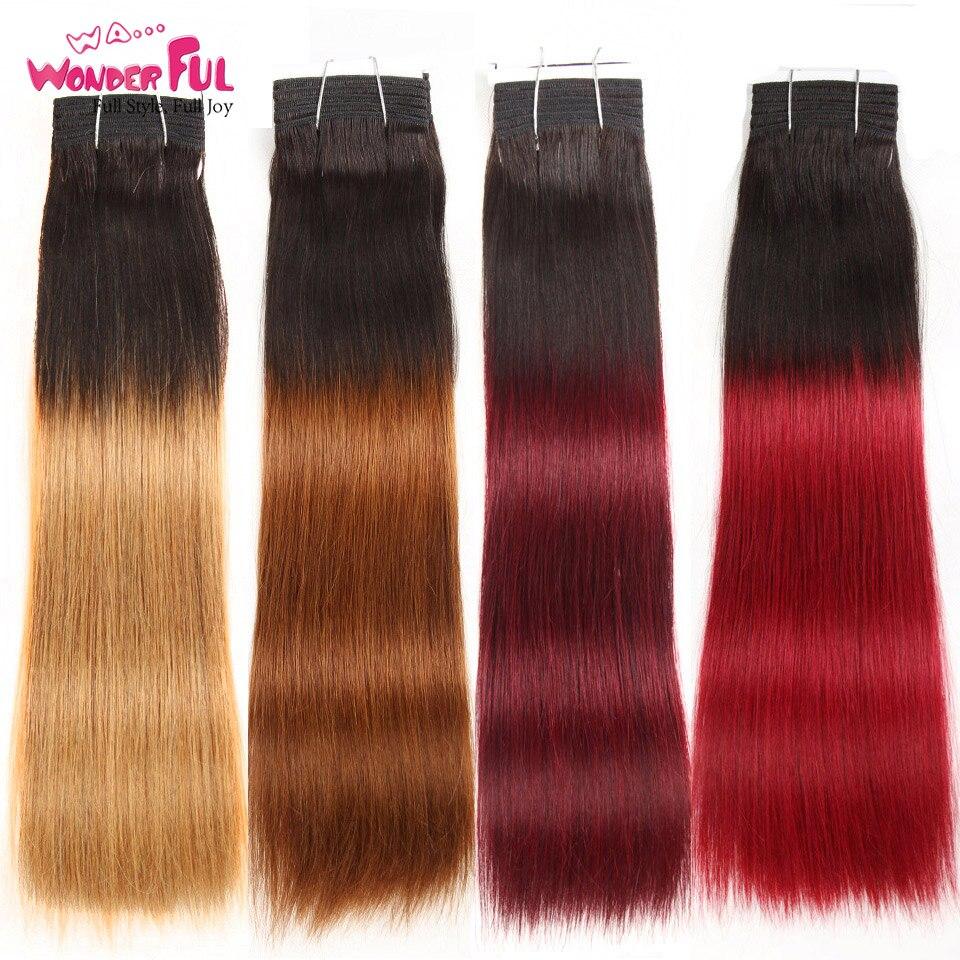 Wa...Wonderful Double Drawn Brazilian Straight Hair Human Hair Weave Bundles Remy Ombre Color Blonde Burgundy Red Hair 99J Hair